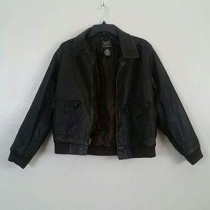 Mens Arizona Faux Leather Bomber Jacket